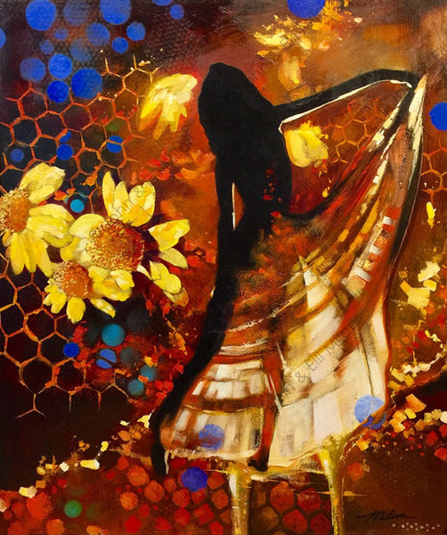 "The original ""Dance of the Honey Bee"" mixed media oil painting is 30"" x 36""."