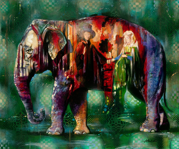 abstract elephant oil painting - mixed media