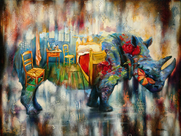 abstract rhinoceros oil painting- mixed media