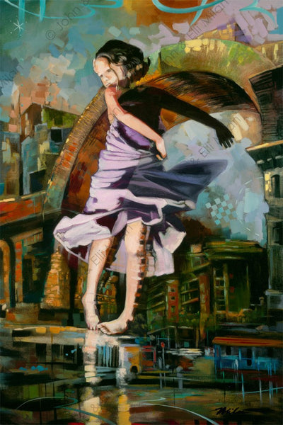 abstract dancing girl oil painting - mixed media