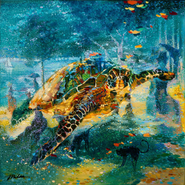 abstract sea turtle oil painting - mixed media