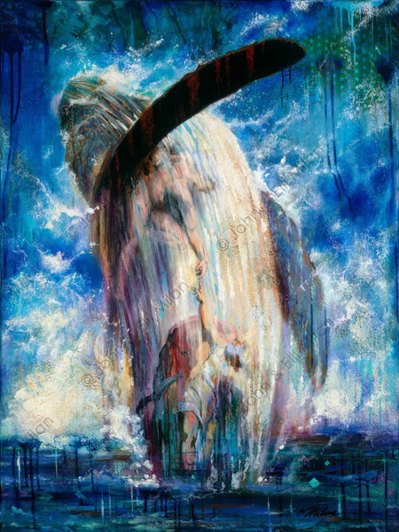 abstract whale oil painting - mixed media