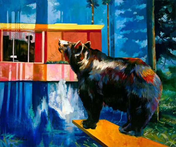abstract bear oil painting - mixed media