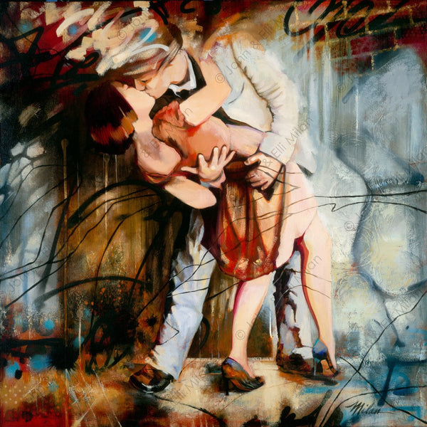 abstract kissing couple oil painting - mixed media