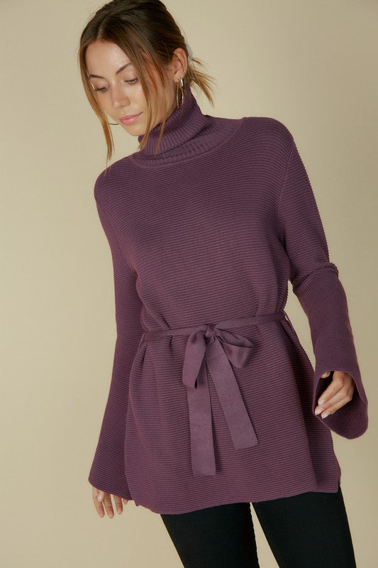 Ribbed Tie Waist Sweater