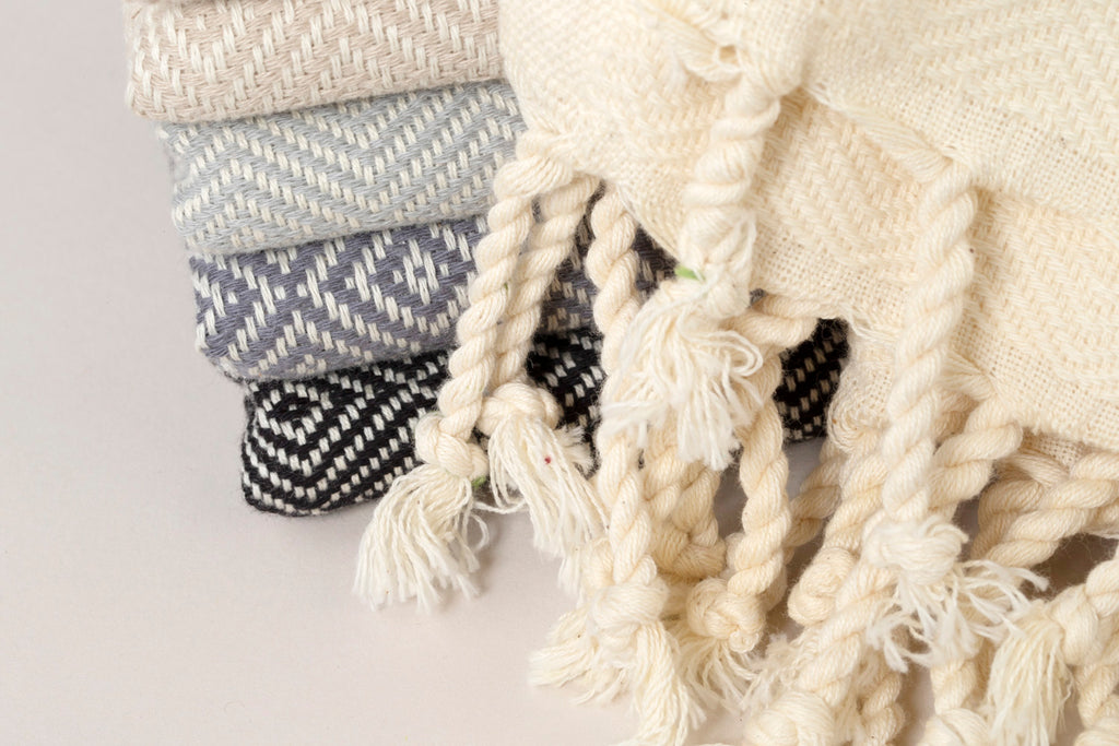 Herringbone Light Cotton Throw Blanket 180 x 230 Light Group