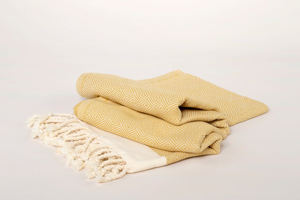 "TURKISH TOWEL ""PESHTEMAL"" - DIAMOND PATTERN - BEIGE"