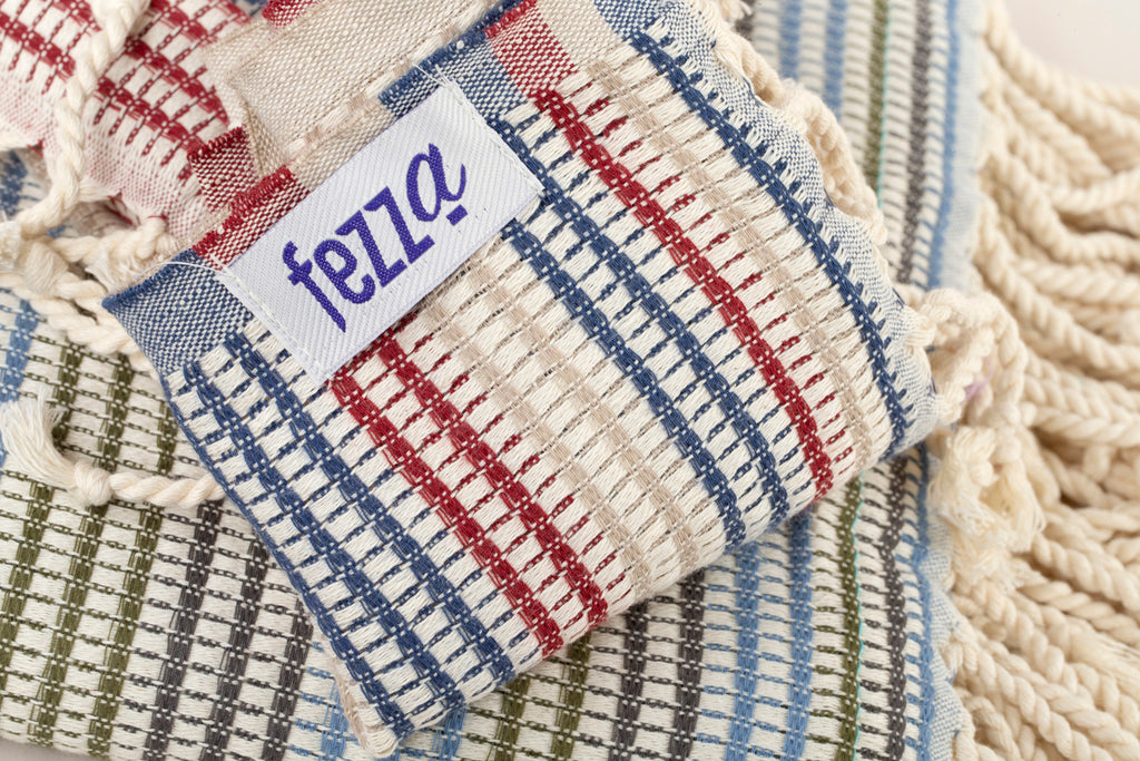 "Turkish Towel ""Peshtemal"" Beige,red,blue with Multicolour Stripes"