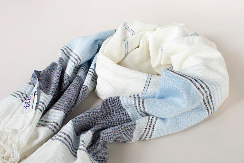 Light Cotton Turkish Towel Scarf - Blue on Ecru