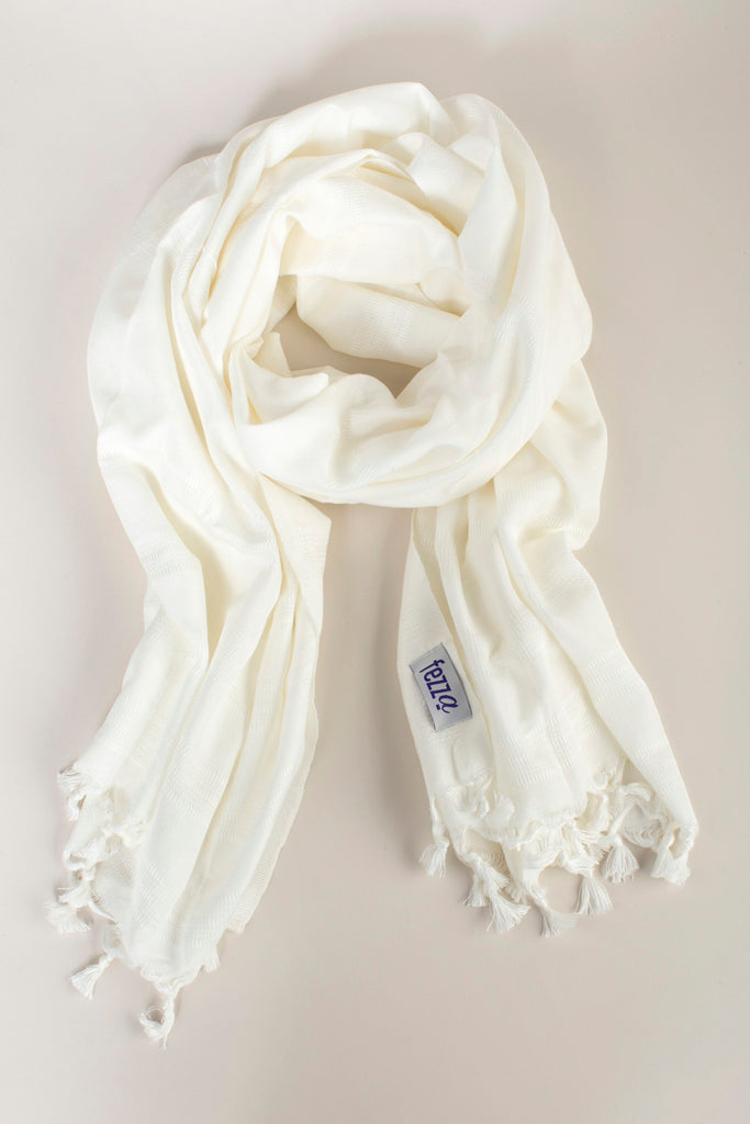 Light Cotton Turkish Towel Scarf - Ecru