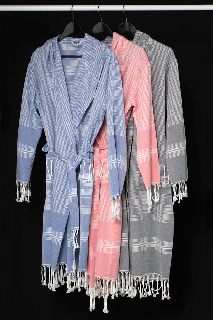 Light Striped Turkish Towel Cotton Robe