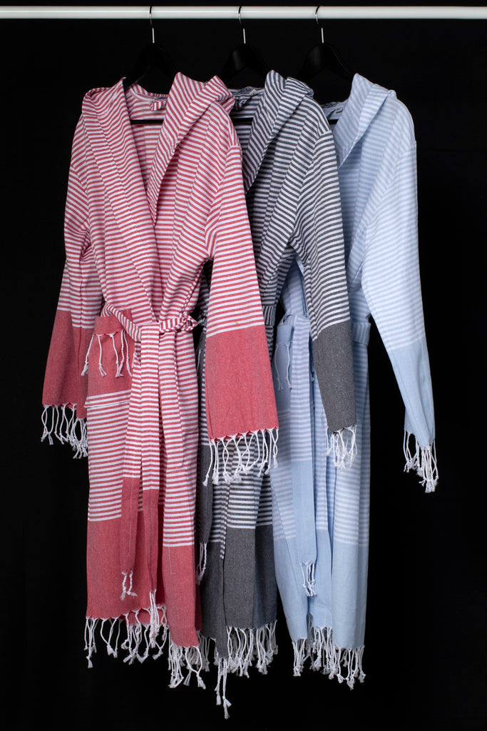 Striped Turkish Towel Cotton Robe