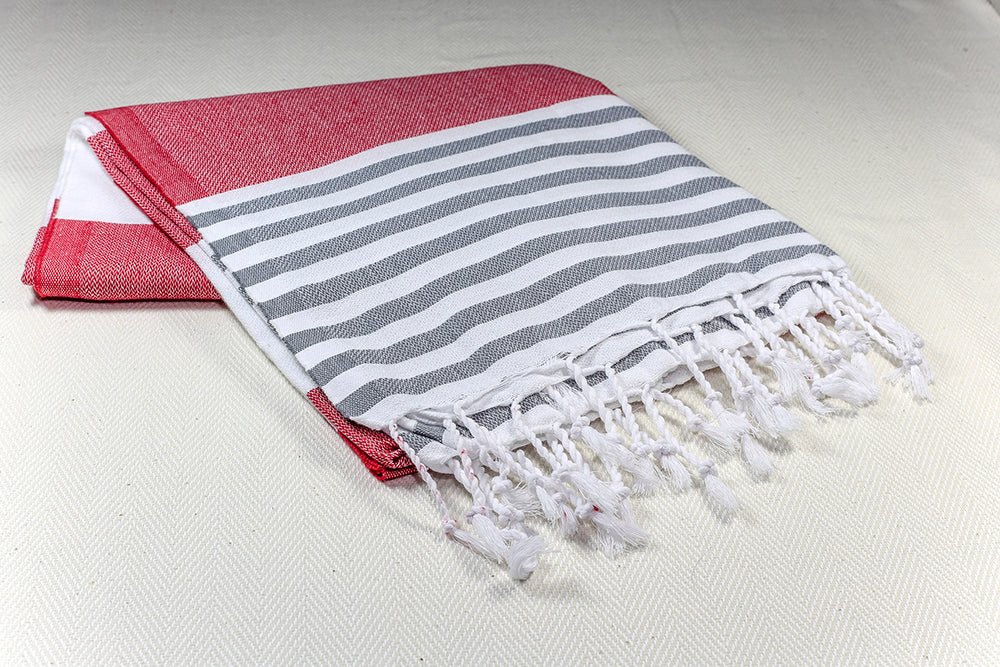 "Turkish Towel ""Peshtemal"" - Colorful Marina - Red"
