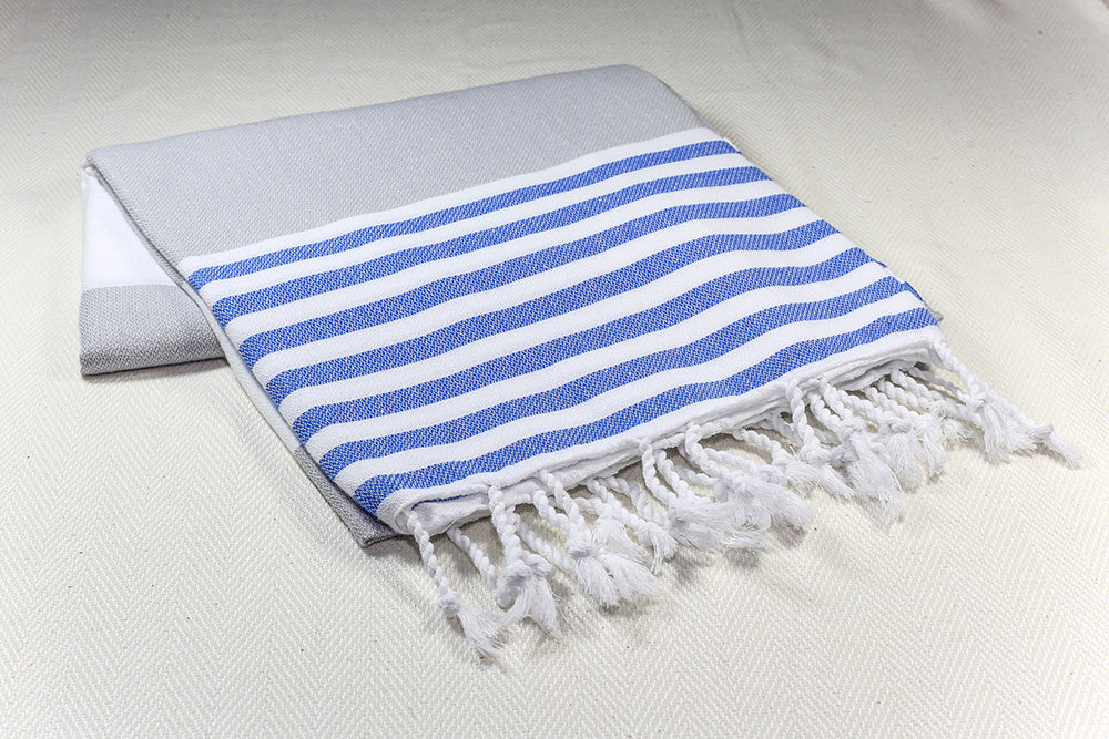 "Turkish Towel ""Peshtemal"" - Colorful Marina - Gray"