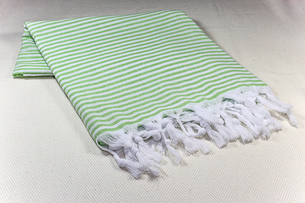 "Turkish Towel ""Peshtemal"" - Marine Stripes - Green"