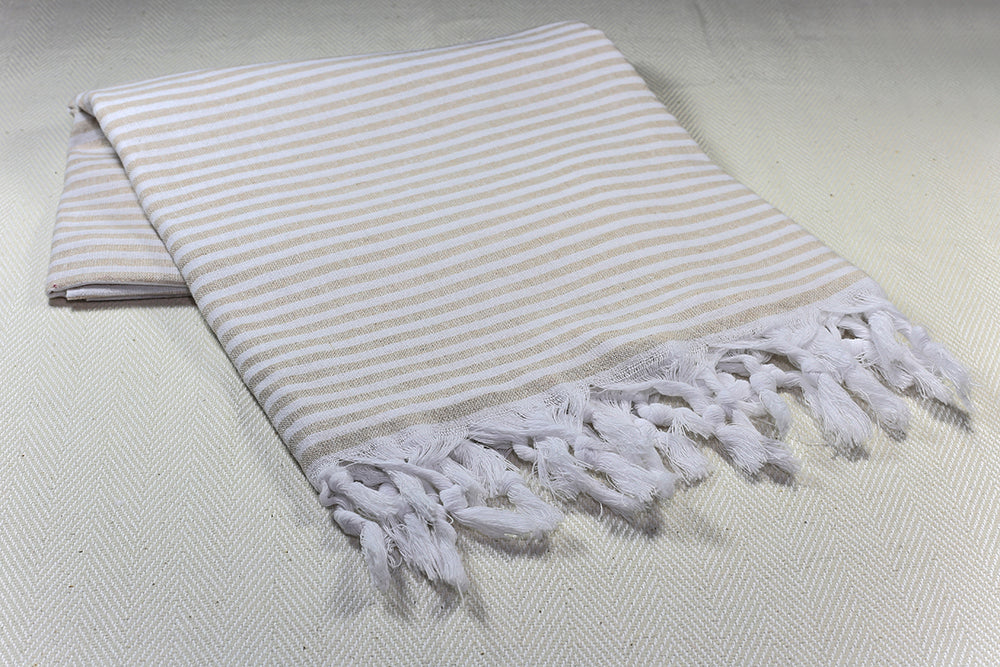 "Turkish Towel ""Peshtemal"" - Marine Stripes - Beige"