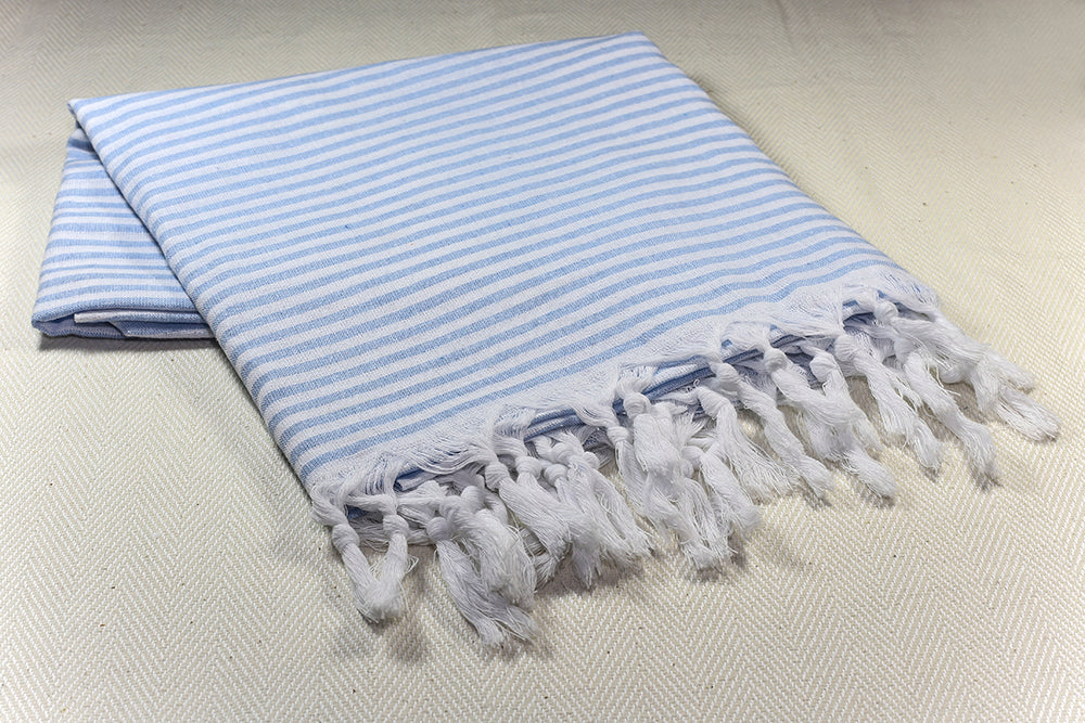 "Turkish Towel ""Peshtemal"" - Marine Stripes - Blue"