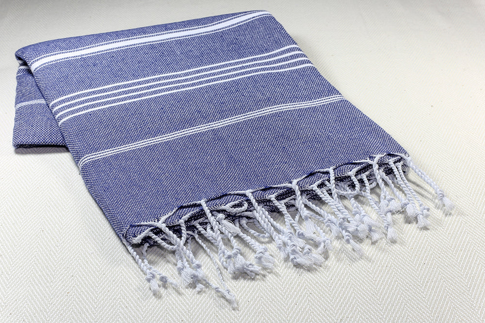 "Turkish Towel ""Peshtemal"" - Sultan - Navy Blue"