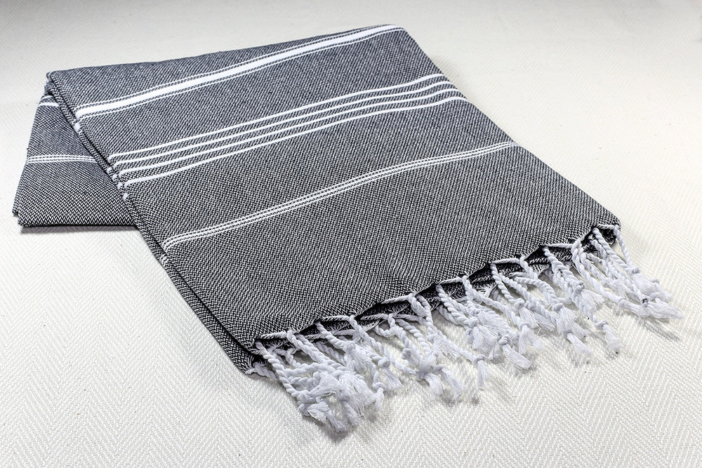 "Turkish Towel ""Peshtemal"" - Sultan - Charcoal"