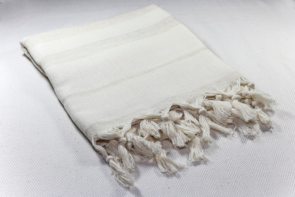 "Turkish Towel ""Peshtemal"" - Linen- Ecru with Beige Stripes"