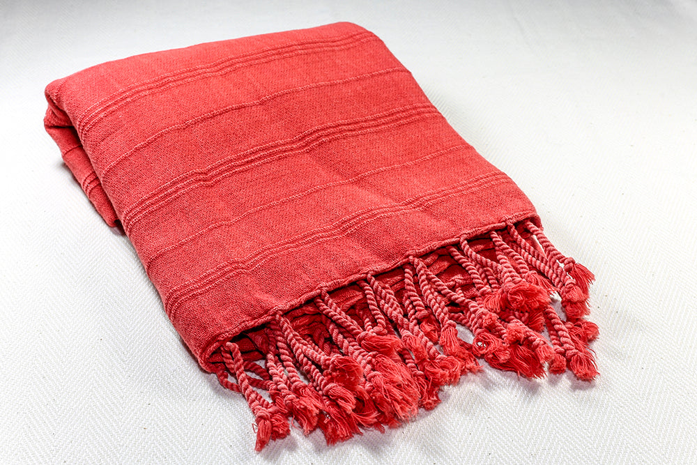 "Turkish Towel ""Peshtemal"" - Stonewashed Cotton - Red"