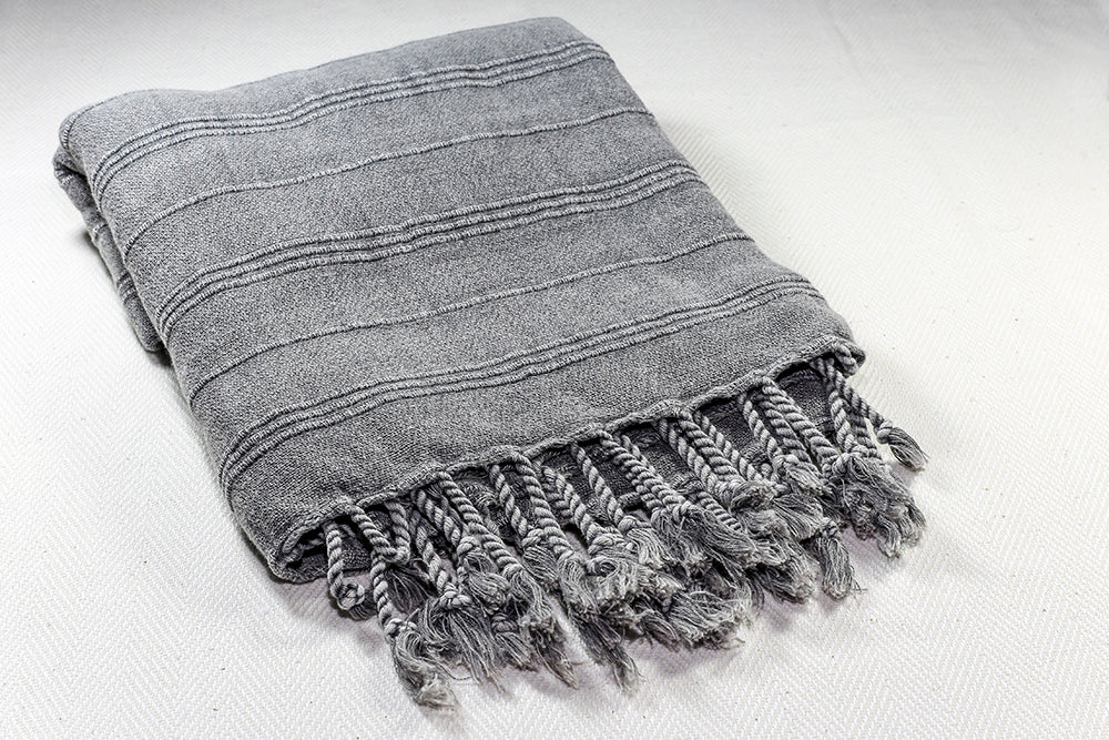 "Turkish Towel ""Peshtemal"" - Stonewashed Cotton - Charcoal"