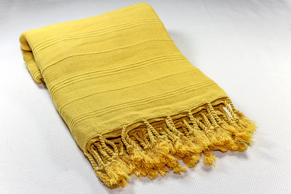 "Turkish Towel ""Peshtemal"" - Stonewashed Cotton - Mustard Yellow"