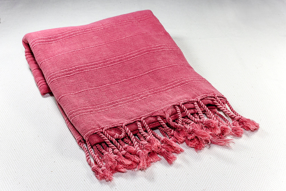 "Turkish Towel ""Peshtemal"" - Stonewashed Cotton - Rose"