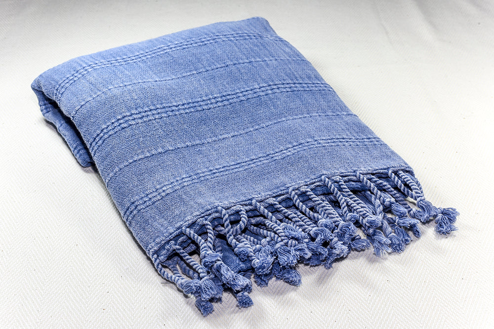 "Turkish Towel ""Peshtemal"" - Stonewashed Cotton - Blue"
