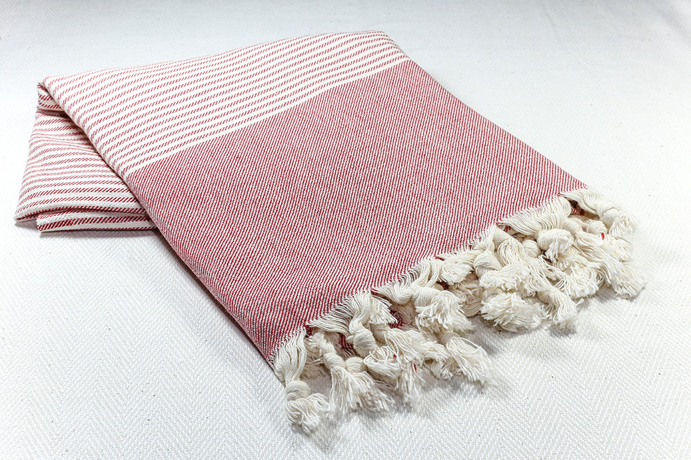 "Turkish Towel ""Peshtemal"" - RoseGarden - Red"
