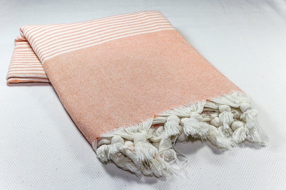 "Turkish Towel ""Peshtemal"" - RoseGarden - Orange"