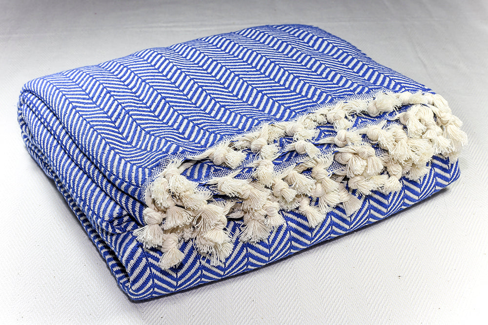 Herringbone Light Cotton Throw Blanket 180 x 230 - Blue
