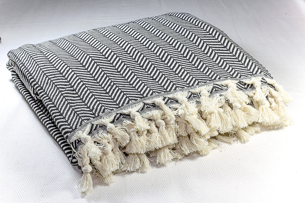Herringbone Light Cotton Throw Blanket 180 x 230 - Black
