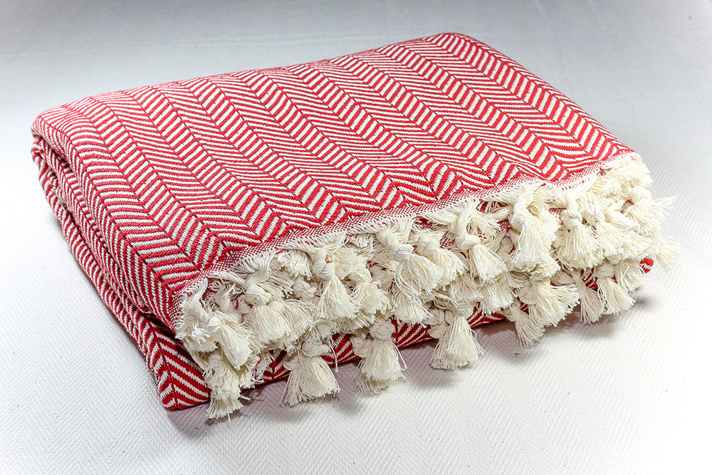Herringbone Light Cotton Throw Blanket 180 x 230 - Red