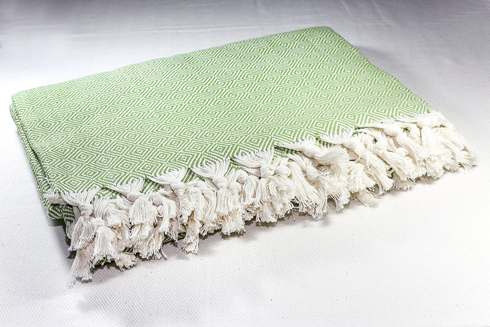 Diamond Cotton Throw Blanket 185 x 240 - Green