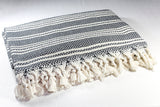 Four Seasons Cotton Throw Blanket 180 x 240 - Ecru on Black