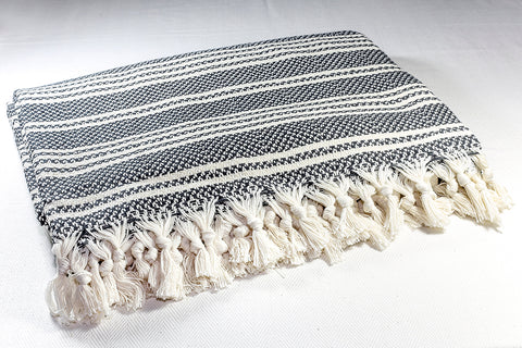 Herringbone Light Cotton Throw Blanket 180 x 230 Ecru