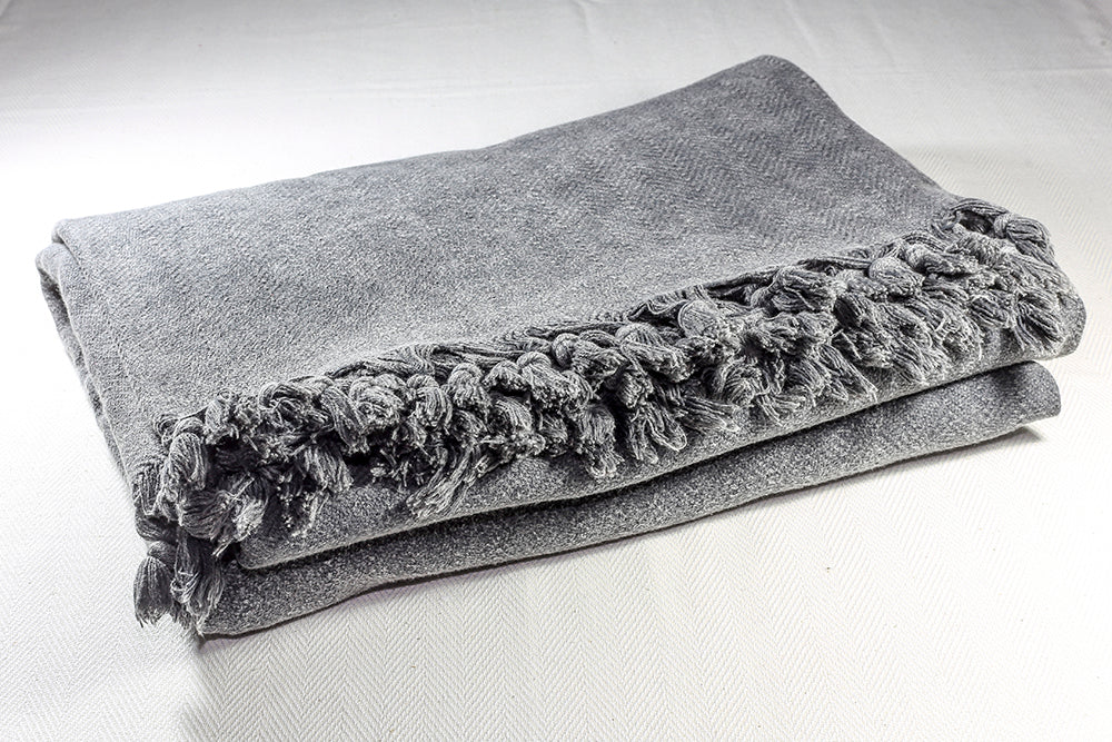 Stone-washed Cotton Throw Blanket 180 x 230 - Charcoal