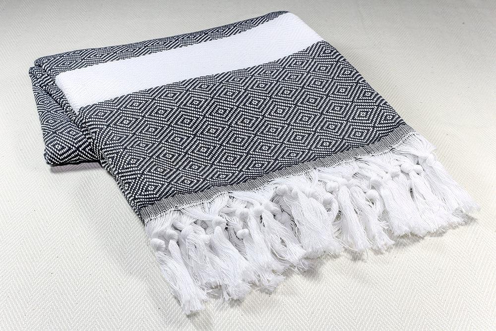 "Turkish Towel ""Peshtemal"" - Diamond - Black&White"