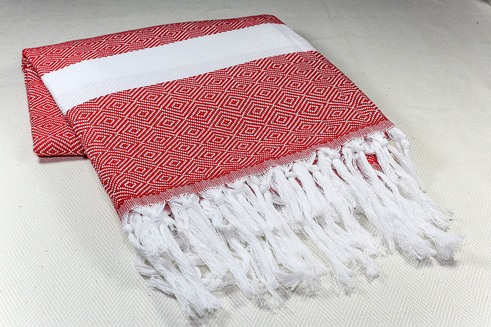 "Turkish Towel ""Peshtemal"" - Diamond -  Red & White"