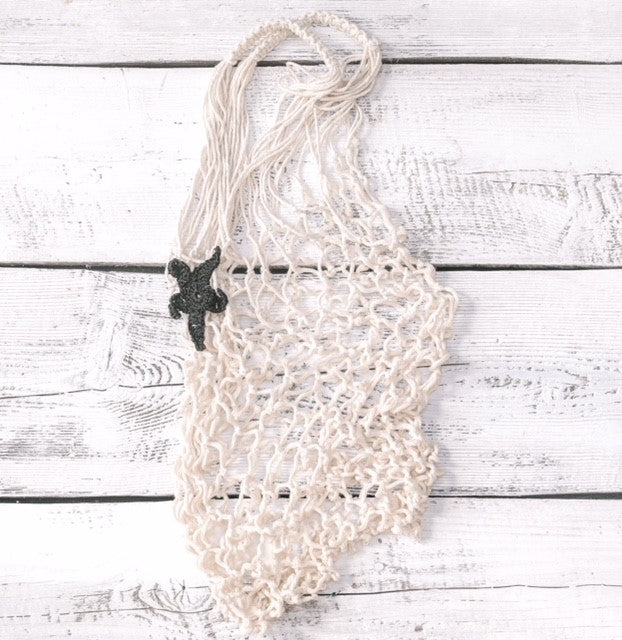 Shopping bag - Macrame with hand-crotched star piece