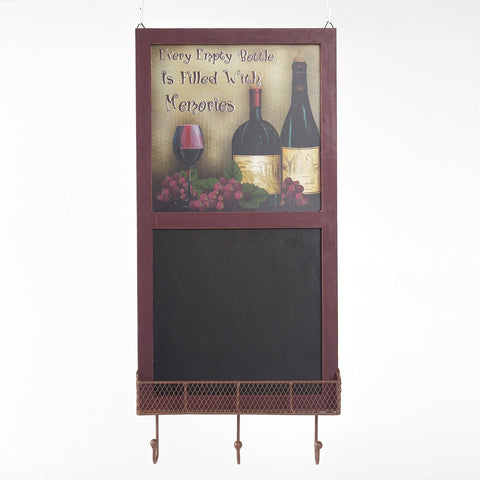 "ESE Vintage Wooden Wine Chalkboard Sign With Tray and Hooks, 25.6""H"