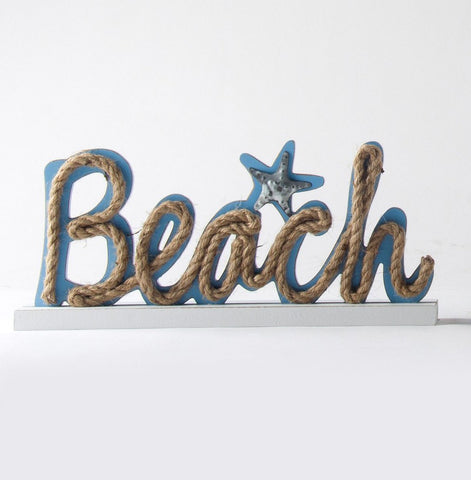 ESE Wooden Nautical Standing Tabletop Sign with Rope Letters (Beach), 15""