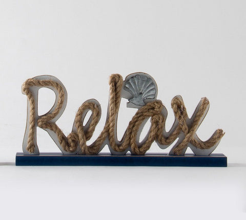ESE Wooden Nautical Standing Tabletop Sign with Rope Letters (Relax), 15""