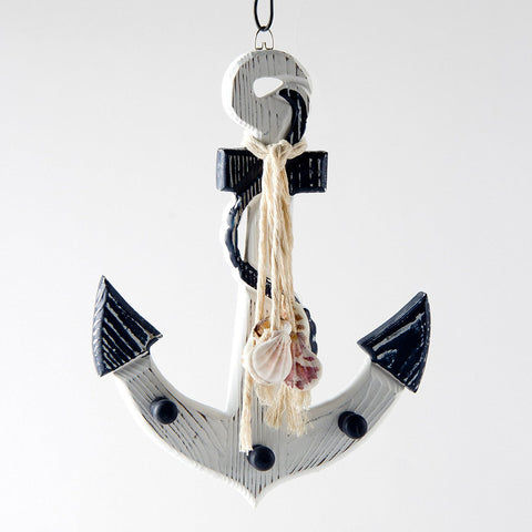 ESE Wooden Blue/White Nautical Anchor Wall Decor, hook with Shells