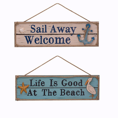 ESE Wooden Beach Plaque Sign Wall Decor, Set of 2, 20""