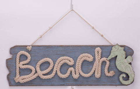"ESE Wooden Beach/Relax Nautical Hanging Sign with Rope ""Beach"", 21"""