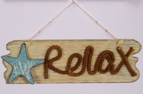 "ESE Wooden Beach/Relax Nautical Hanging Sign with Rope ""Relax"", 21"""