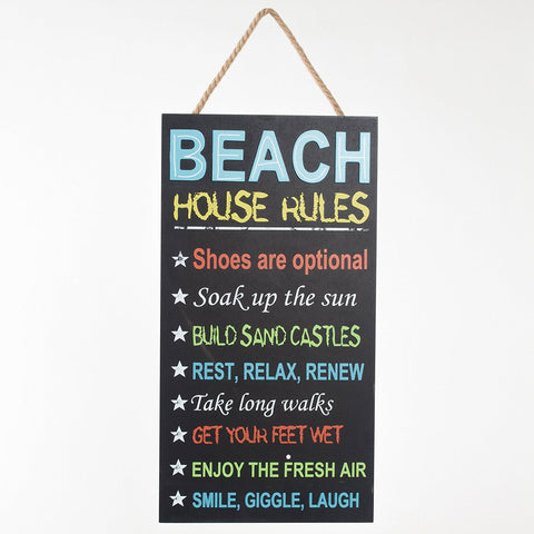 "ESE Handcrafted Wooden Chalkboard Hanging Sign ""Beach house rules"", 20""H"