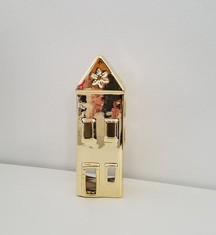 "ESE Christmas Decorations T-light Holder House shape, Gold color, 7""H, high quality"